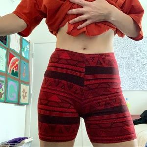 American Apparel Red Tribal Shorts